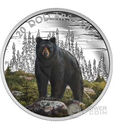 BOLD BLACK BEAR Orso Nero Majestic Animal Moneta Argento 20$ Canada 2017