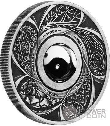 ROTATING CHARM Yin Yang 1 Oz Moneta Argento 1$ Tuvalu 2016