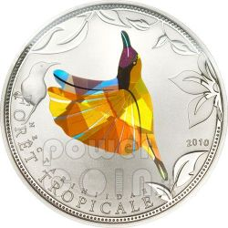 YELLOW SUNBIRD Tropical Forest Silver Coin Prism 1000 Francs Togo 2010