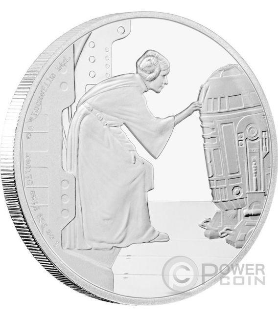 PRINCESS LEIA ORGANA R2-D2 Star Wars Classic 1 Oz Silber Münze 2$ Niue 2016