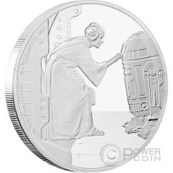 PRINCESS LEIA ORGANA R2-D2 Star Wars Classic 1 Oz Moneda Plata 2$ Niue 2016
