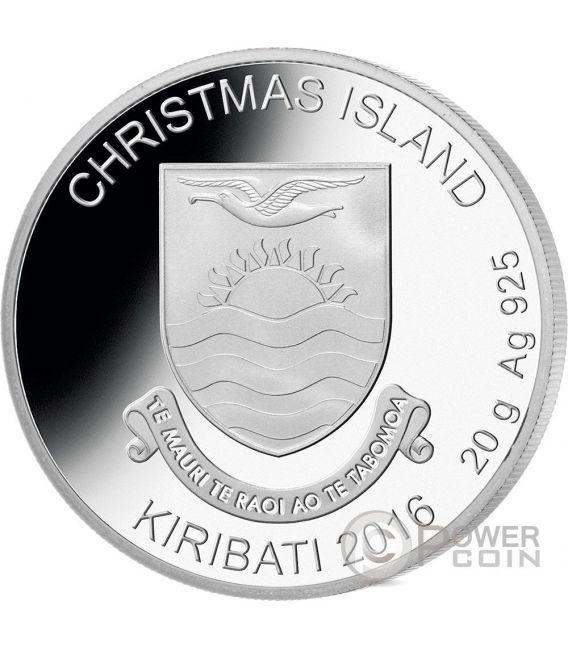 RUDOLPH Red Nosed Reindeer Christmas Moneda Plata 1$ Kiribati 2016