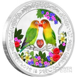 LOVEBIRDS Love Is Precious Inseparabili Amore Prezioso Moneta Argento 2$ Niue 2017