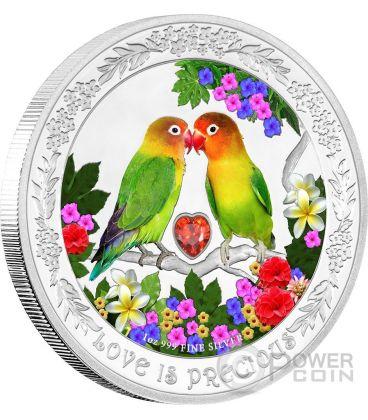 LOVEBIRDS Love Is Precious Inseparabili Amore Prezioso Moneta Argento 2$ Niue 2017