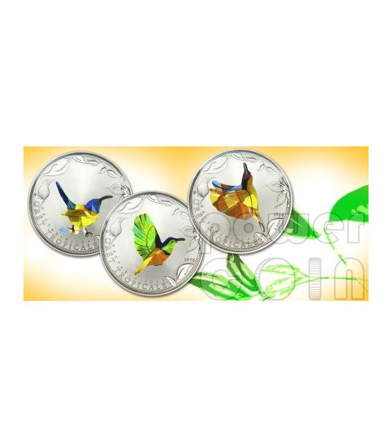 YELLOW SUNBIRD Tropical Forest Moneda Plata Prism 1000 Francs Togo 2010