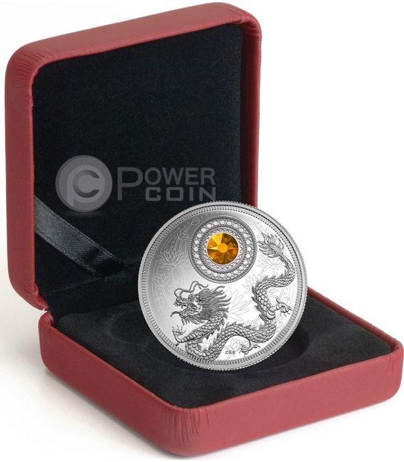 BIRTHSTONES NOVEMBER Gemstone Swarovski Silver Coin 5$ Canada 2016