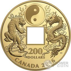 TIGER AND DRAGON Tigre Dragone Yin And Yang Moneta Oro 200$ Canada 2016