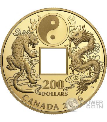 TIGER AND DRAGON Yin And Yang Gold Coin 200$ Canada 2016