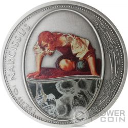 NARCISSUS Narciso Greek Myth Mirror Specchio 1 Oz Moneta Argento 2$ Niue 2016