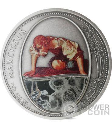 NARCISSUS Narciso Greek Myth Mirror Specchio 1 Oz Moneta Argento 2$ Niue 2016