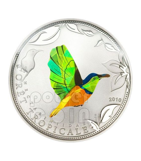 GREEN SUNBIRD Tropical Forest Silber Münze Prism 1000 Francs Togo 2010