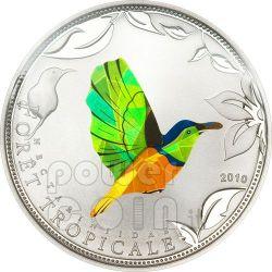 GREEN SUNBIRD Tropical Forest Серебро Монета Prism 1000 Франков Того 2010