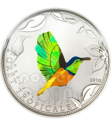 GREEN SUNBIRD Tropical Forest Silver Coin Prism 1000 Francs Togo 2010
