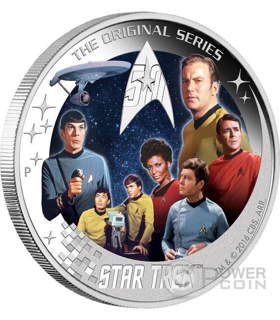 U.S.S. ENTERPRISE NCC-1701 CREW STAR TREK Original Series 50th Anniversary 2 Oz Silver Coin 2$ Tuvalu 2016