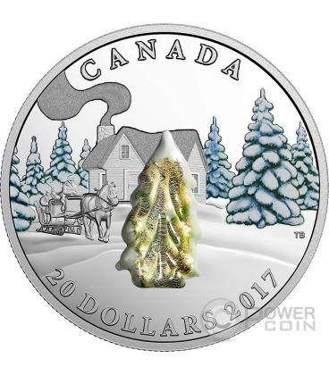 SNOW COVERED TREES Alberi Innevati Vetro Murano Moneta Argento 20$ Canada 2017