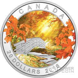 AUTUMN TRANQUILLITY Autunno Landscape Moneta Argento 20$ Canada 2016