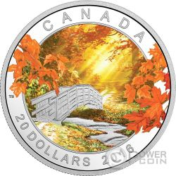 AUTUMN TRANQUILLITY Landscape Silver Coin 20$ Canada 2016
