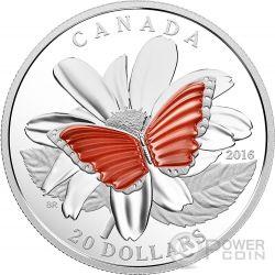 BUTTERFLY COLOURFUL WINGS Farfalla Agata Moneta Argento 20$ Canada 2016