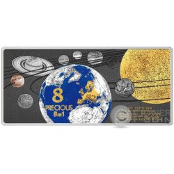 PRECIOUS 8 IN 1 Solar System 1 Oz Silver Coin 5$ Solomon Islands 2016