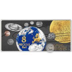 PRECIOUS 8 IN 1 Solar System 1 Oz Silver Coin 5$ Solomon Islands 2016