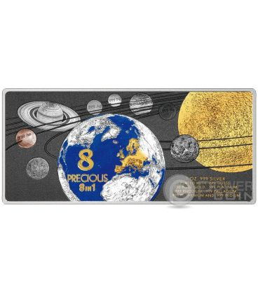 PRECIOUS 8 IN 1 Sistema Solare 1 Oz Moneta Argento 5$ Solomon Islands 2016
