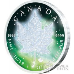 FROZEN MAPLE LEAF Aurora Rhodium 1 Oz Silber Münze 5$ Canada 2016