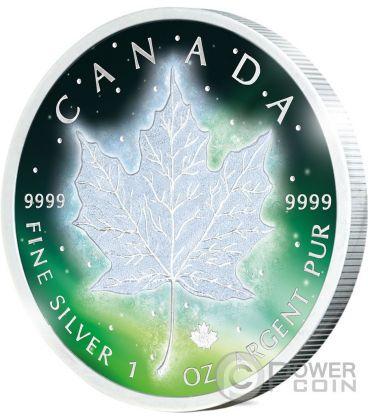 FROZEN MAPLE LEAF Aurora Rodio 1 Oz Moneta Argento 5$ Canada 2016