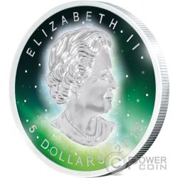 FROZEN MAPLE LEAF Aurora Rhodium 1 Oz Moneda Plata 5$ Canada 2016