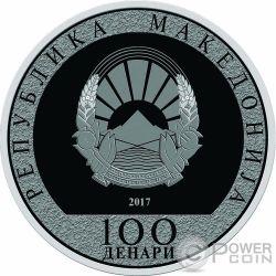 ROOSTER Wind Spinner Lunar Year Серебро Монета 100 Денар Македония 2017