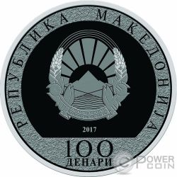 ROOSTER Wind Spinner Lunar Year Silver Coin 100 Denars North Macedonia 2017