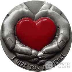 EMOTIONS I Give You My Heart 3 Oz Silver Coin 5$ Niue 2016