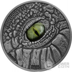 CROCODILE EYE Coccodrillo Real Effect 1 Oz Moneta Argento 1000 Franchi Burkina Faso 2016