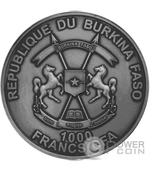 CROCODILE EYE Real Effect 1 Oz Moneda Plata 1000 Francs Burkina Faso 2016