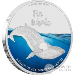 FIN WHALE Whales of the Southern Ocean 1 Oz Moneda Plata 2$ Pitcairn Islands 2016