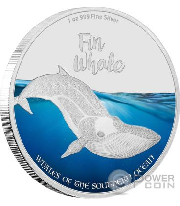 FIN WHALE Balenottera Comune Balena Whales of the Southern Ocean 1 Oz Moneta Argento 2$ Isole Pitcairn 2016