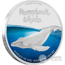HUMPBACK WHALE Megattera Balena Whales of the Southern Ocean 1 Oz Moneta Argento 2$ Isole Pitcairn 2016
