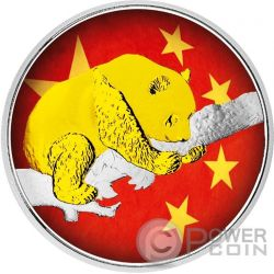 CHINESE PANDA Flag Серебро Монета 10 Юаней Китай 2016
