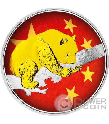 CHINESE PANDA Flag Bandiera Moneta Argento 10 Yuan Cina 2016