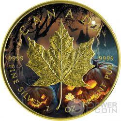 HALLOWEEN MAPLE LEAF Foglia Acero 1 Oz Moneta Argento 5$ Canada 2016