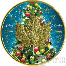 CHRISTMAS MAPLE LEAF Natale 1 Oz Moneta Argento 5$ Canada 2016