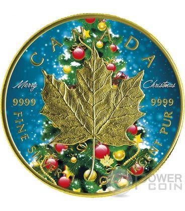 CHRISTMAS MAPLE LEAF Natale 1 Oz Moneta Argento 5$ Canada 2016
