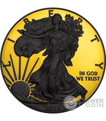 WALKING LIBERTY Gold Shadows 1 Oz Moneta Argento 1$ US Mint 2016