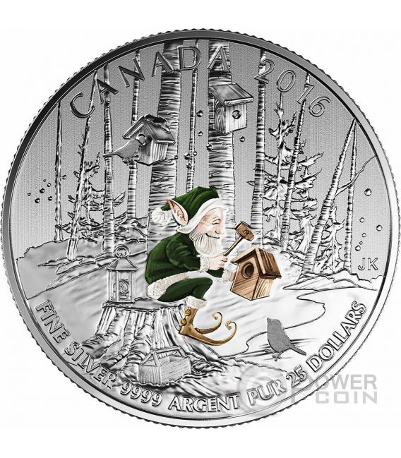 WOODLAND ELF Elfo Moneta Argento 25$ Canada 2016
