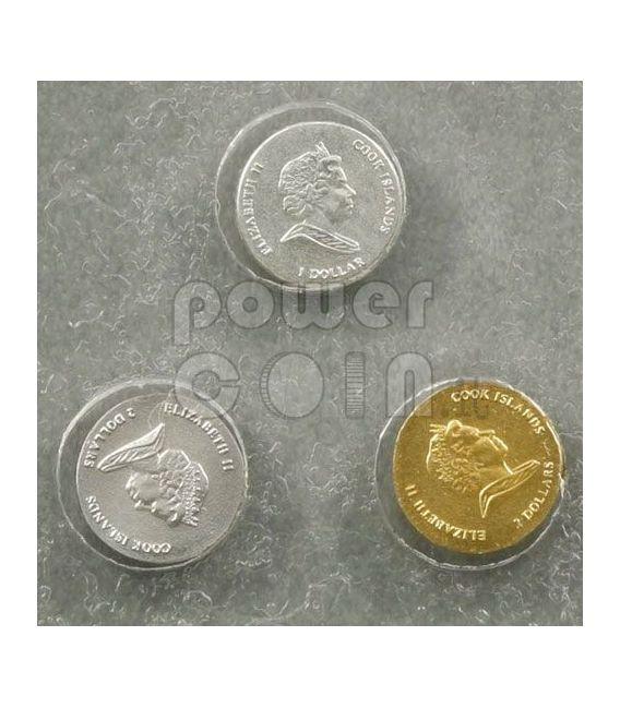 WORLD SMALLEST COINS Plata Oro Platinum 3 Moneda Set 1$ 2$ Cook Islands 2009