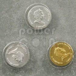 MONETE PIU PICCOLE Set 3 Monete Oro Argento Platino 1$ 2$ Cook Islands 2010