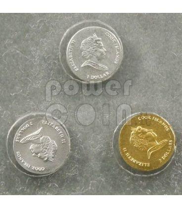 WORLD SMALLEST COINS Silver Gold Platinum 3 Coin Set 1$ 2$ Cook Islands 2009