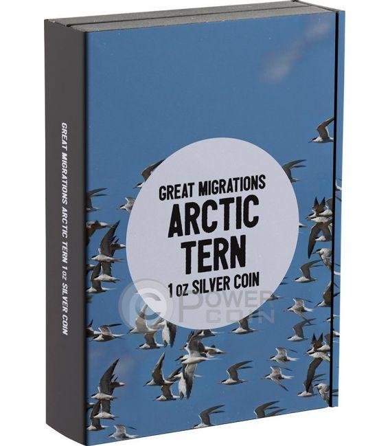 ARCTIC TERN Sterna Artica Great Migrations 1 Oz Moneta Argento 2$ Niue 2017