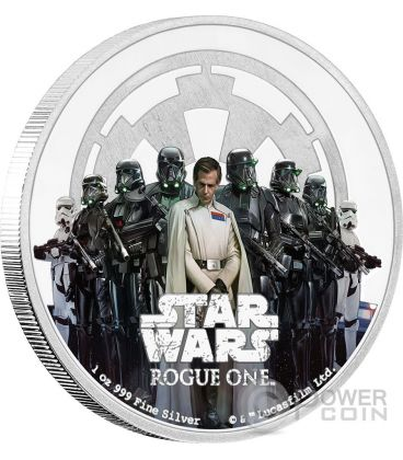 THE EMPIRE Star Wars Rogue One 1 Oz Moneta Argento 2$ Niue 2017