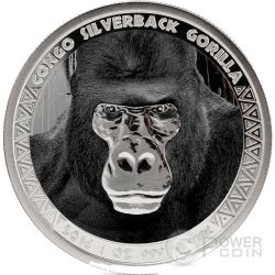 SILVERBACK GORILLA 1 Oz Proof Moneda Plata 5000 Francs Congo 2016