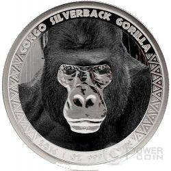 SILVERBACK GORILLA 1 Oz Proof Moneta Argento 5000 Franchi Congo 2016